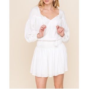 All In Favor white smocked waist peasant dress